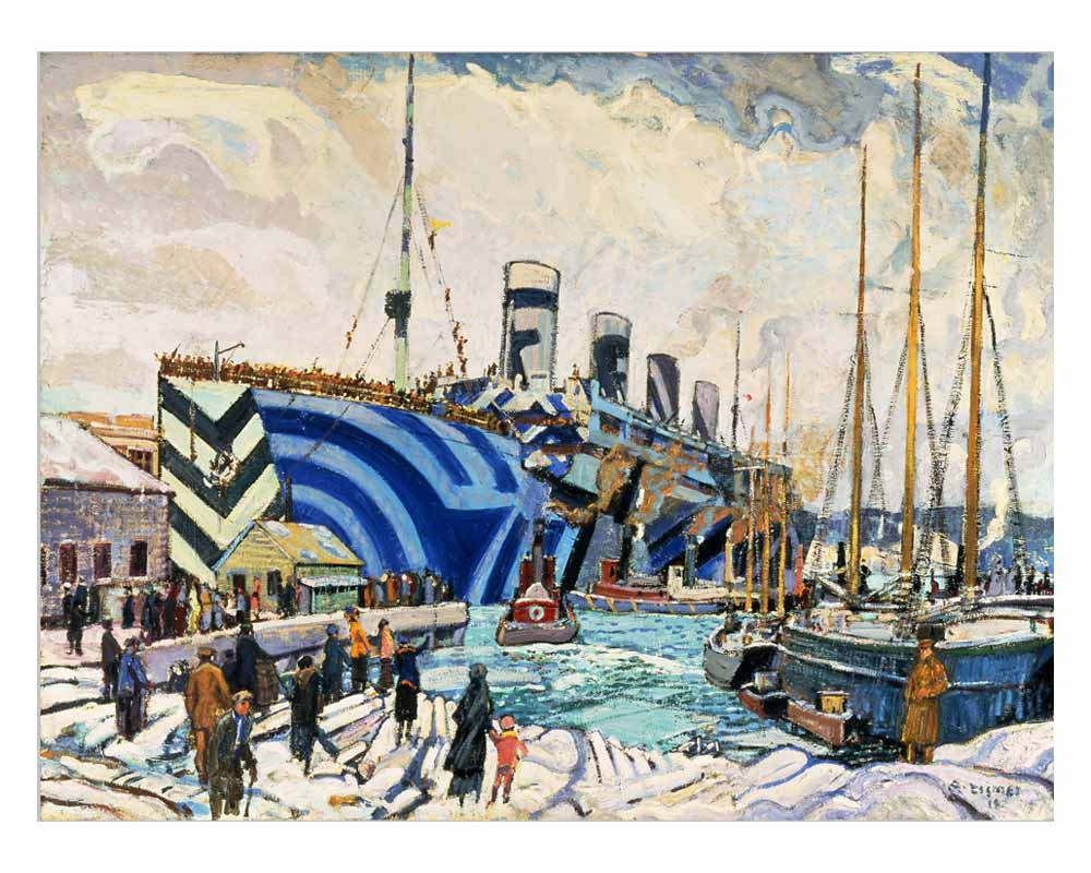 RMS Olympic in dazzle at Pier 2 in Halifax, Nova Scotia, 1919